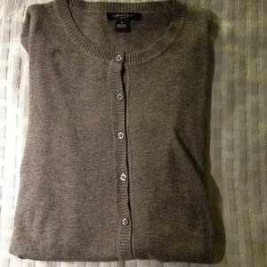August Silk Sweaters - Classic Cardigan! Soft! Medium heathered grey tone