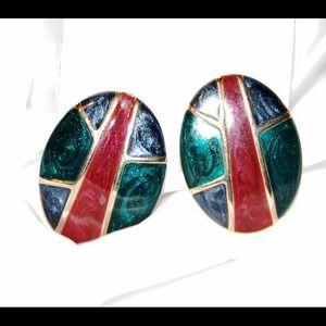 🎀Jewel tone costume earrings