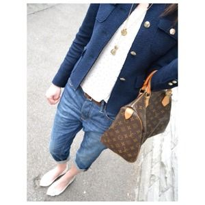 Zara Jackets & Blazers - ZARA Tweed Navy Blue Blazer with Metallic Buttons