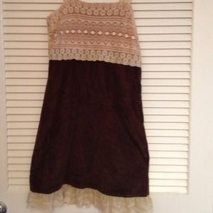 Cream lace and brown dress