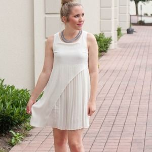 Urban Outfitters Dresses & Skirts - White pleated dress