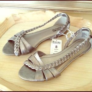 Mossimo Shoes - Silver Braided D'Orsay Sandals