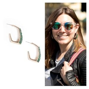 JewelMint Jewelry - Emerald Crystal Gold Plated Hook Earrings