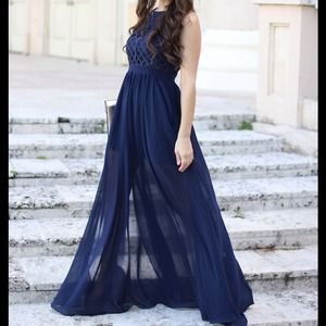 Navy maxi-dress with bust detail
