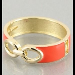 Jewelry - Great giftGold and coral bangle bracelet w/ hinge.
