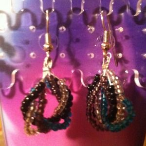 "Teardrop Twist multicolor earrings!!! Approx. 2"" L"