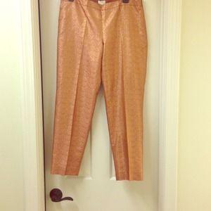 J Crew silk Capri pants- metallic copper/gold Sz 6
