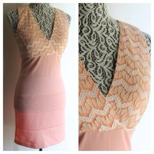 Dresses & Skirts - CHEVRON PEACH FORM FITTING DRESS