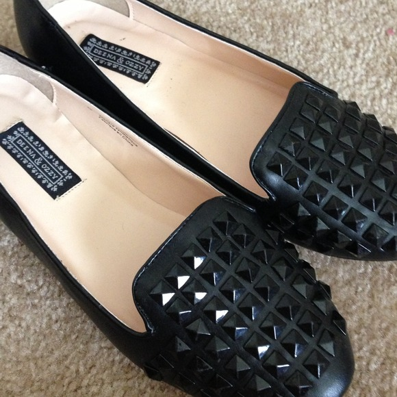 Urban Outfitters Shoes - Black Studded Loafer Flats