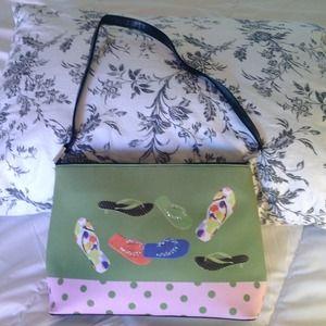Sara Handbags - ⬇👜Green Handbag with Rhinestoned Flip-Flops