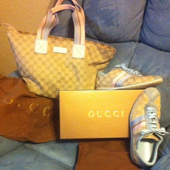 gucci bags and shoes. pre-loved matching gucci bag and tennis shoes bags t