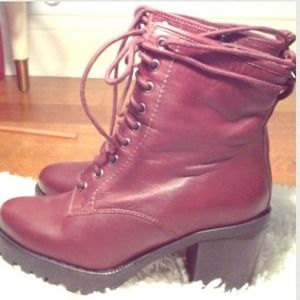Maroon TOPSHOP Boots Real Leather