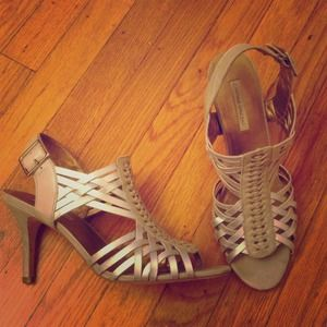 Silver neutral high heel sandals
