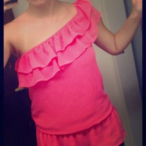 Bright pink/coral one-shoulder flowy top