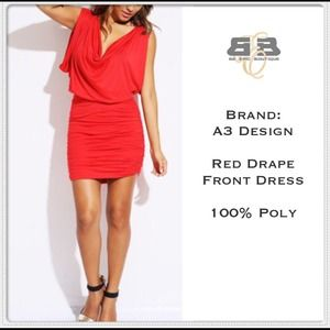 Dresses & Skirts - Red Drape Front Mini Dress