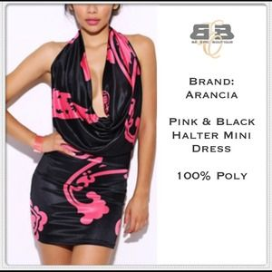Dresses & Skirts - Black and Pink Floral Halter Dress