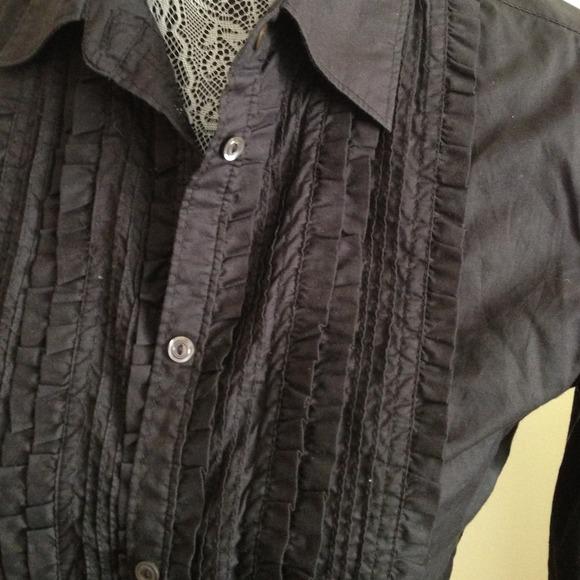 Ruffled Tuxedo Shirt uk Black Ruffled Tuxedo Shirt