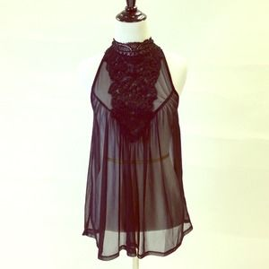 Forever 21 Tops - Sheer Black Top w/ Crochet Lace Detail