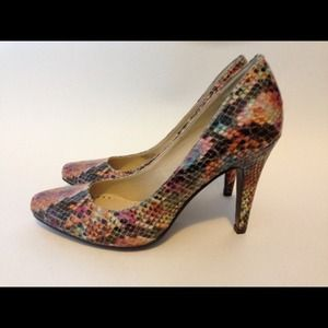 Shoes - Adrienne Vittadini Multi-Color Snake Leather Heel