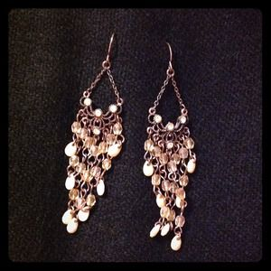 Copper and Peach Colored Chandelier Earrings