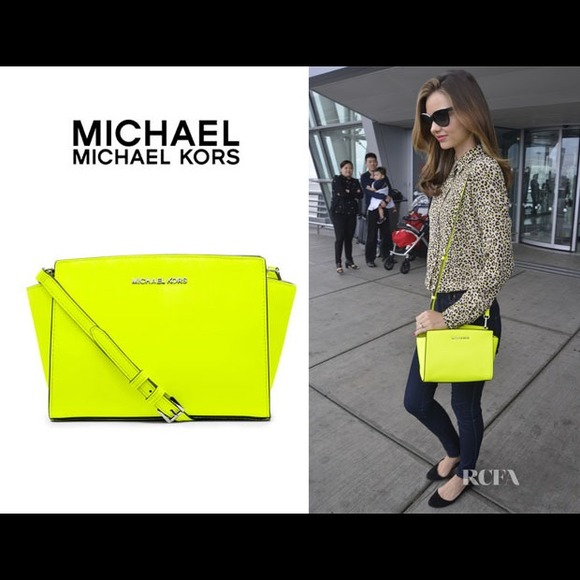 Michael Kors Neon Yellow Selma Crossbody NWT