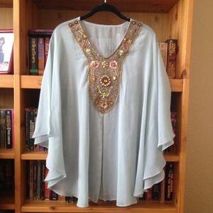 Handmade beaded batwing sleeve chiffon shirt.