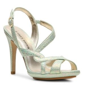 Audrey Brooke Shoes - NEW Metalic Mint Snake Print Slingbacks