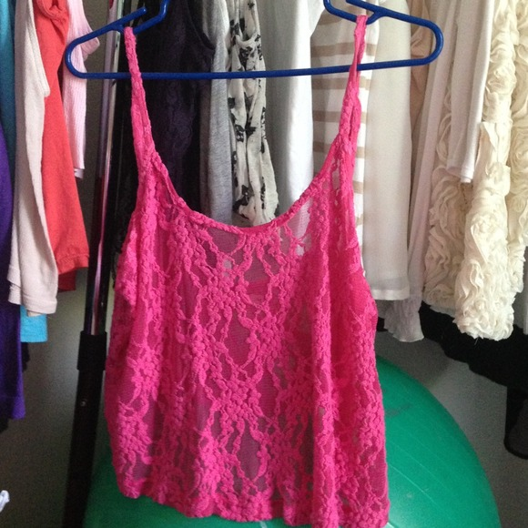 LF Tops - Hot pink lace flowy crop top