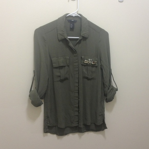 H&m Tops H&m Army Green
