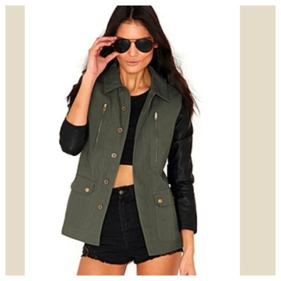 53% off Jackets & Blazers - Army green jacket with faux leather ...