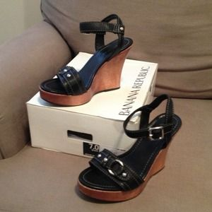Banana Republic wood and leather wedge sandals.