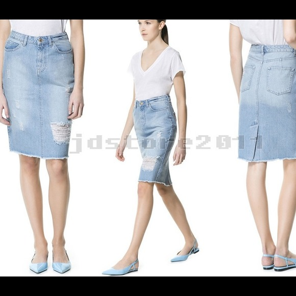 38 zara denim zara ripped denim pencil skirt size 4