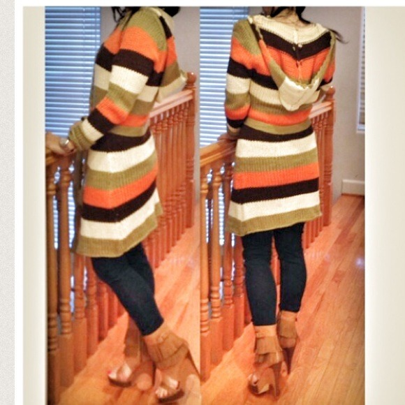 58% off Jackets & Blazers - Boho chic striped hooded long sweater ...