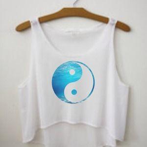 Blue ying yang top