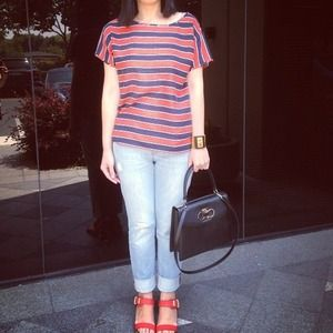 Red white and blue striped silk J.Crew top