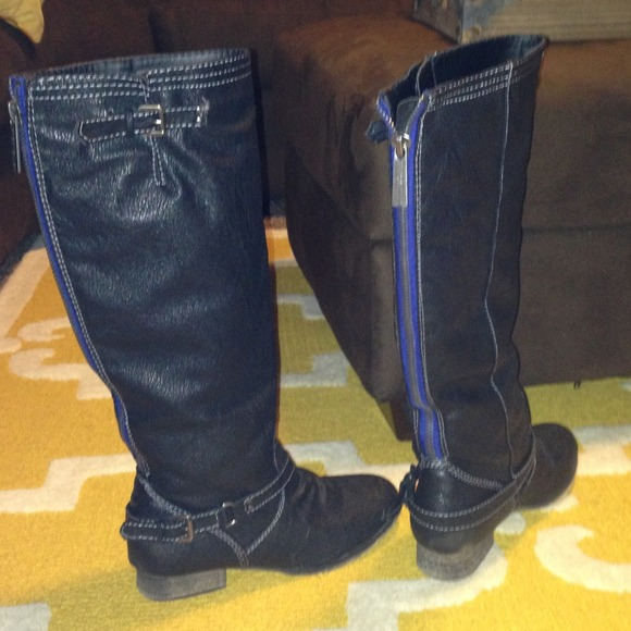 73% off breckelles Boots - Outlaw black riding boots blue zipper ...