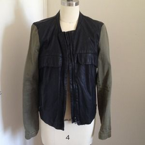 Zara faux leather & cotton army jacket