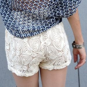 Shorts - Embroidered ivory shorts-sale
