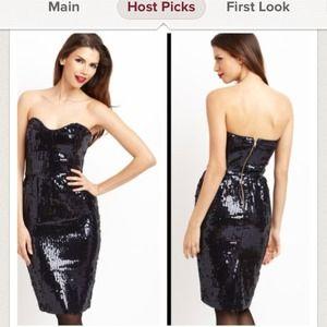 🎉HOST PICK🎉Navy blue sequins strapless dress