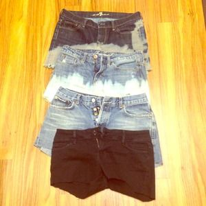Four pairs of jean shorts