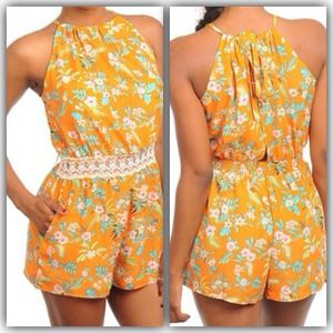 Tropical romper with lace detail