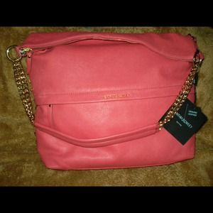 Cynthia Rowley coral Gold studded bag