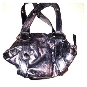 Gustto  silver snake skin print  leather handbag