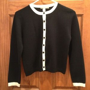 Vintage black wool cardigan with cream trim WARM