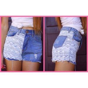 NWOT Lace High Waisted Shorts
