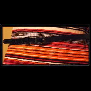 Skinny black patent leather belt - size 10