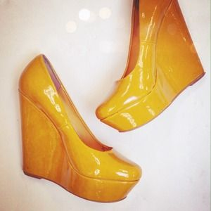 Mixx Shoes - ❌SOLD! Mustard Yellow Wedges ☀️
