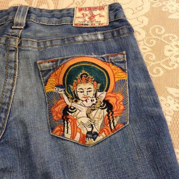 Off true religion denim quot embroidered