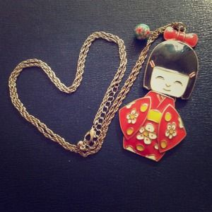 Cute Necklace with Girl in a Kimono