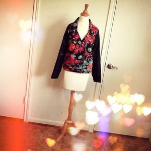 Black Red Quilted Floral & Leather Bomber Jacket